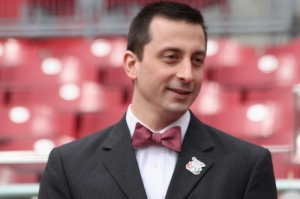 Reds staffer Chris Bausano sportin' the bowtie!