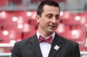 Reds staffer Chris Bausano sportin' the bowtie!