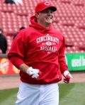 Jay Bruce is having fun before the game