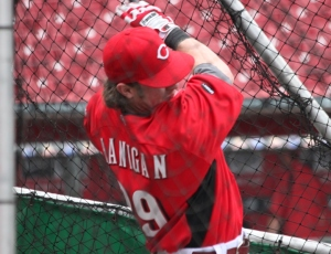 Ryan Hanigan pictured using his knuckles to hit a ball into the bleachers