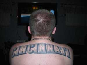 Shoulder blade to shoulder blade ..This was my first tattoo..hopefully more come soon...Go Redlegs!! - Kyle, Fairfield, OH