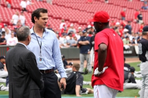 Tim Kurkijan referees staring match between the first ever second baseman in GABP history and the current one