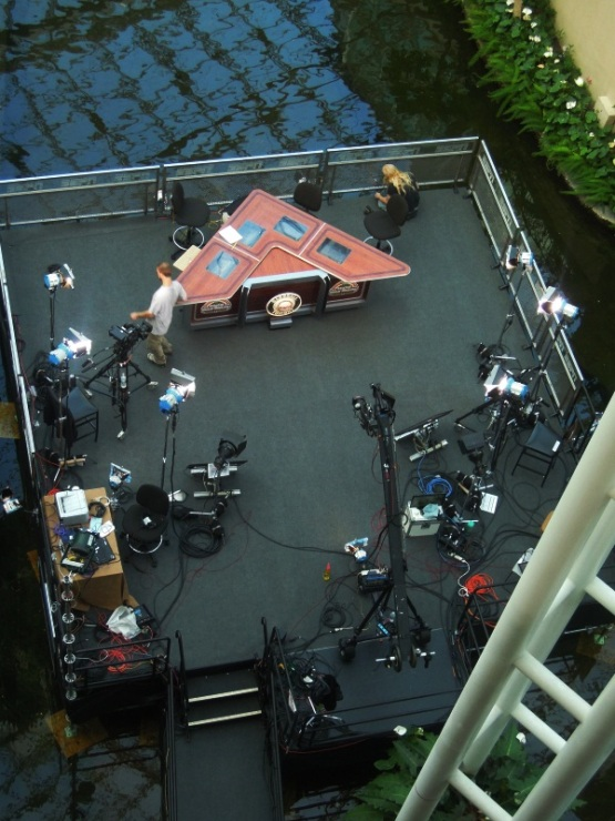 The ESPN Baseball Tonight set from high above in the Opryland Hotel