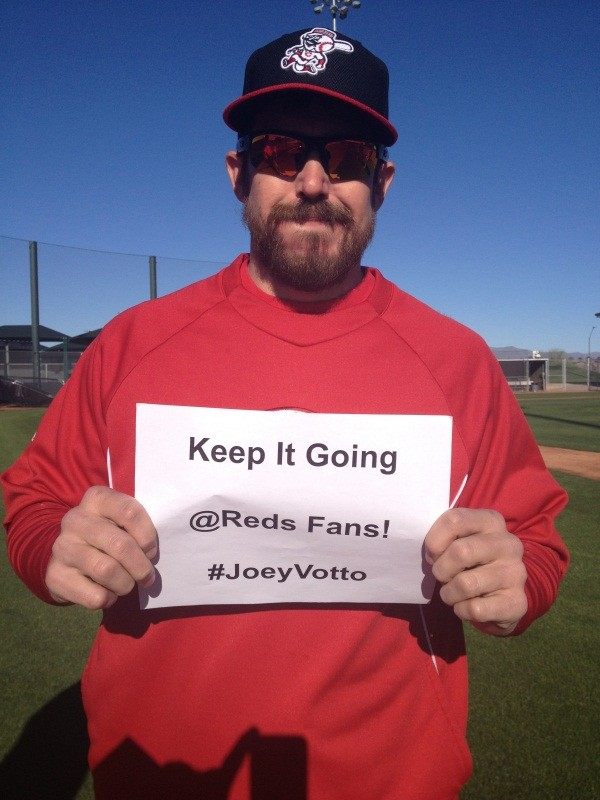 Today's starter Sam LeCure wants you to tweet #JoeyVotto