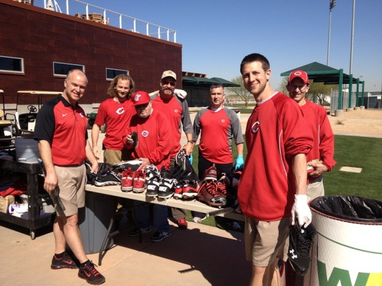 "Reds clubhouse crew and the ""shoe store."""
