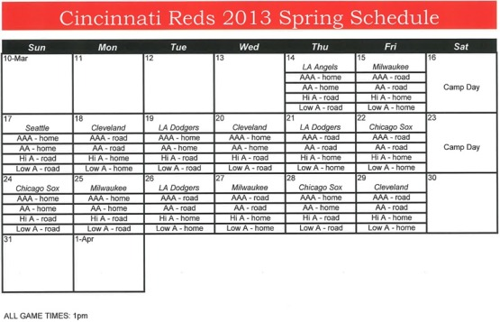 Minor League schedule