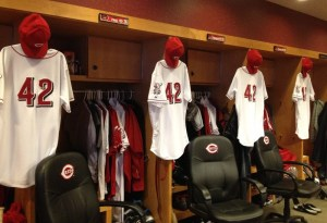 The #42 jerseys in the Reds clubhouse