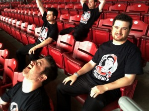 Reds media relations interns Zach Weber, Zach Weber, Zach Weber and Zach Weber model tonight's TweetUp shirt