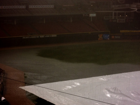 Take a look at the flooding water in left field