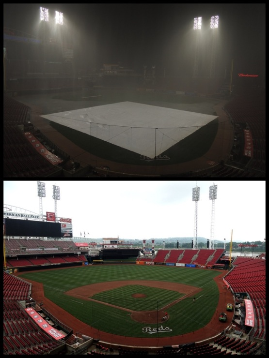 Above: Last night.  Below: This morning