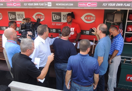 Cueto prepares to address the media Wednesday