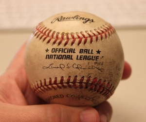 Barry Bonds' 386th home run ball that he hit on 5/25/98 at Cinergy Field.  When he hit it, I ran behind the wall and picked it up.