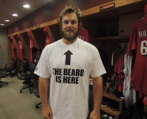 JJ Hoover posed today in his brand new Daniel Bryan t-shirt.
