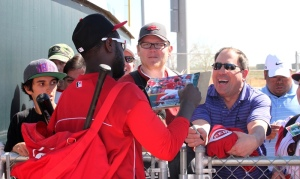 @DatDudeBP signs autographs at the Reds complex