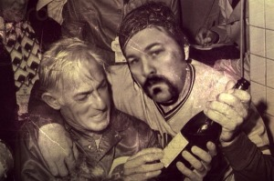 Corky Miller celebrates the 1975 World Series victory with manager Sparky Anderson