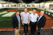 Reds Director of Player Development Jeff Graupe, Jay Bruce, Assist. GM Bob Miller and GM Walt Jocketty at the grand opening of the P&G Cincinnati MLB Urban Youth Academy.