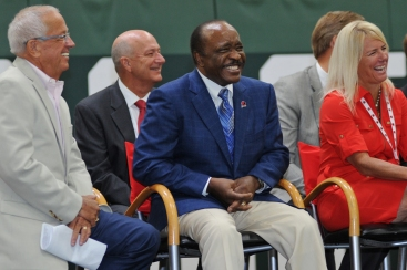 Reds broadcaster Marty Brennaman, Reds Senior Advisor to the President Joe Morgan and P&G Vice President - Brand, North America Jodi Allen share a laugh at the grand opening of the P&G Cincinnati MLB Urban Youth Academy.