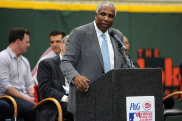 MLB Executive VP of Baseball Development and Hall of Famer Frank Robinson was well recieved by the fans at the grand opening of the P&G Cincinnati MLB Urban Youth Academy.