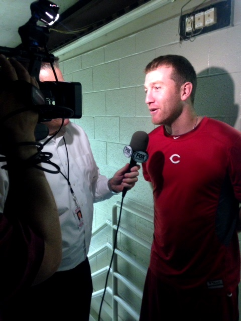 Todd Frazier speaks with Fox Sports Ohio's Jim Day in the hallow reaches of Wrigley