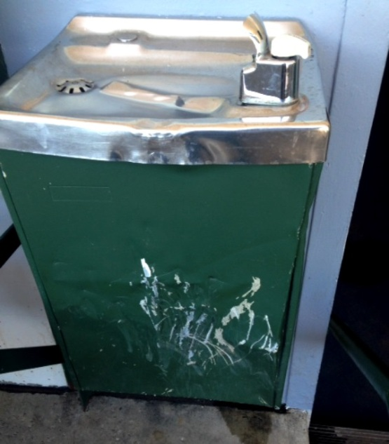 The water fountain in the visitors dugout.  It's been beat up a few times.
