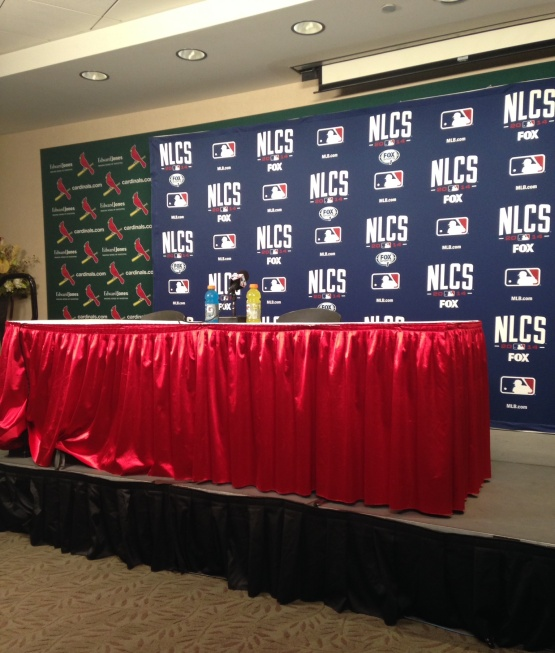 The NLCS Postseason Press Conference Room at Busch Stadium