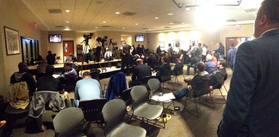 During the game, the media folks turn the press conference chairs around to watch the game on the TVs located in the back of the room.