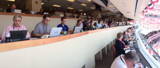 The packed GABP pressbox during the Futures Game