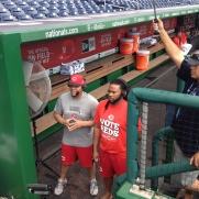 Brayan Pena and Johnny Cueto prepare for their segment on MLB Network