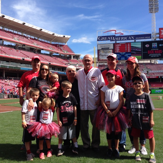 Dick Maus and family on the field for pregame ceremonies 9/27/15