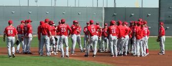 Team gathering before practice begins