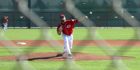 """Cody Reed delivers a pitch in this morning's """"B""""game vs the White Sox"""
