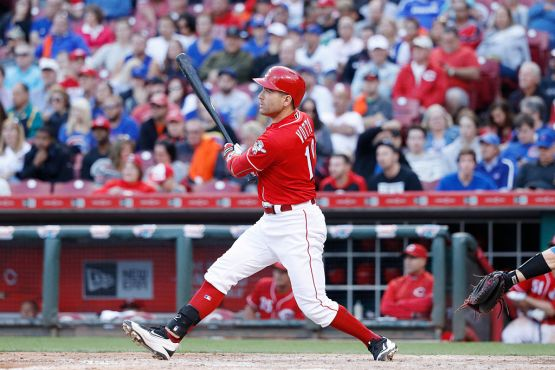 CINCINNATI, OH - OCTOBER 01: Joey Votto #19 of the Cincinnati Reds doubles to right field to drive in a run in the seventh inning against the Chicago Cubs at Great American Ball Park on October 1, 2016 in Cincinnati, Ohio. The Reds defeated the Cubs 7-4. (Photo by Joe Robbins/Getty Images)
